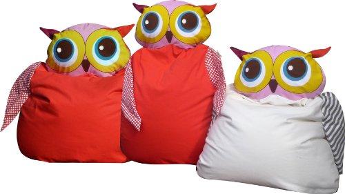 greenluup® hochwertiger Sitzsack für Kleinkinder aus 100% Bio Baumwolle Luna Eule in Weiß - passende Wandtattoos sind erhältlich