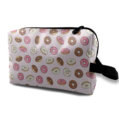 Cosmetic Bags ALL The Donuts! On Pink_4597 Portable Travel Makeup Organizer Multifunction Case Bags for Women