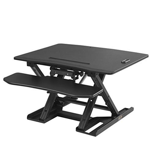 SONGMICS höhenverstellbarer Sitz-Steh-Schreibtisch, elektrisches Stehpult für Computer, Laptop und...