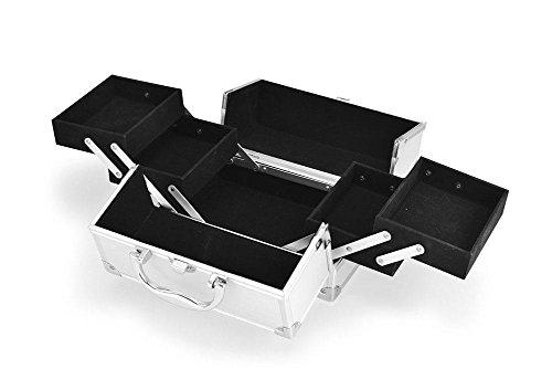 GBT Aluminium portable portable Make-up Tasche Aufbewahrungsbox White