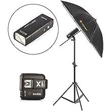 Godox AD200 Flash con Dos luces de cabeza TTL HSS 1 / 8000s DSLR Speedlite con Godox X1T-C Flash Trigger Transmitter para c¨¢maras Canon + TARION 43 pulgadas 2in1 blanco y negro paraguas de estudio + soporte de la l¨¢mpara