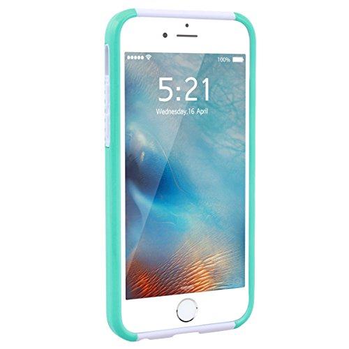 GrandEver iPhone 6/iPhone 6S Hülle Weiche Silikon Handyhülle PC & TPU Bumper 2 in 1 Schutzhülle Schutzhülle für iPhone 6/iPhone 6S Rückschale Anti-Kratzer Stoßdämpfung Ultra Slim Rückseite Silicon Bac Minze Grün Weiß/Weiß