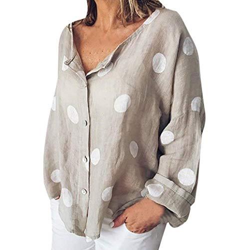 Damen Hemd Große Größe Mode Beiläufig Lose Langarmshirt Knopf Top Tunika T-Shirt Hemd Oberteile Weiches Linen Polka Dot Drucken V-Ausschnitt Hemdbluse Leinenbluse TWBB
