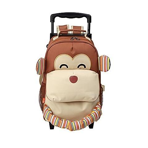 Yodo Umwandelbar 3-Way Kinder Rollen-Gepäck oder Kleinkind Rucksack mit Rädern, Große Vordertasche für Snacks oder Schnickschnack, Kleine Koffer für Kinder Alter 3+, Affe