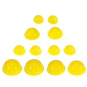 HEALIFTY Schröpfen Therapie 12 stücke Silikon Medizinische Vakuum Massage Schröpfen Massagewerkzeuge Körper Gesichts Therapie Schröpfen Tassen (Gelb)