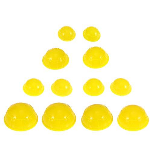 HEALIFTY Schröpfen Therapie 12 stücke Silikon Medizinische Vakuum Massage Schröpfen Massagewerkzeuge Körper Gesichts Therapie Schröpfen Tassen (Gelb) - Körper Vakuum