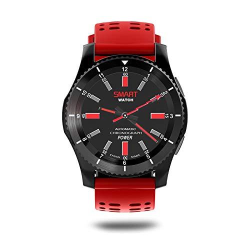 YF&FS Intelligente Uhr wasserdichte GPS Smart Watch Blutdruck Pulsmesser Fitness Armbanduhr mit SIM Karte, rot -
