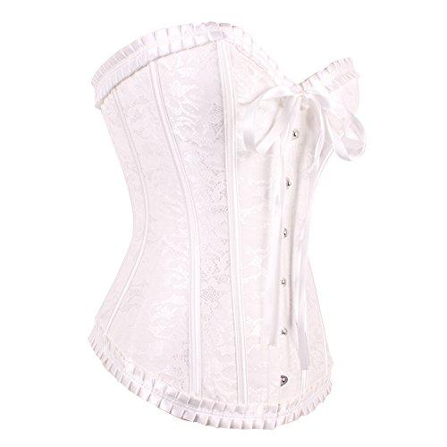 FeelinGirl Frauen Bridal Wäsche schnürt sich oben Satin ohne Knochen Korsett mit G-Schnur Dunkelweiß