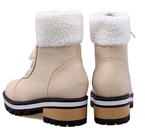 YE Damen Flache Stiefeletten zum schnüren mit Fell 2cm Absatz Blockabsatz Winter Warm gefüttert Stiefel Beige