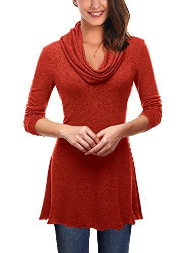 DJT Femmes T-shirt Col Benitier Drape une ligne Tunique Pull Rouge 1