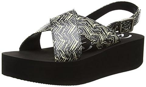 Rocket Dog Women's Kelby Heels Sandals, Black (Cream Wood Block), 5 UK