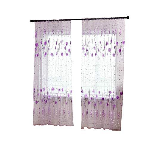wyxhkj Dekorativ Blätter-Muster Transparent Gardine Gaze paarig Ösenschals Fensterschal Vorhänge für Wohnzimmer Schlafzimmer (Lila) (Rüschen-gardinen Lila)