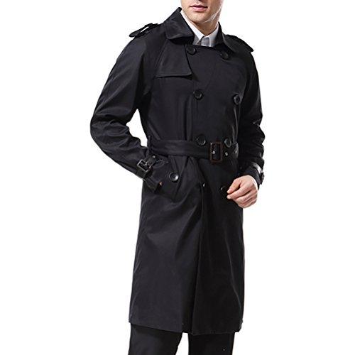 AOWOFS Herren Trenchcoat Lang Zweireihiger Slim Fit Mantel im Militärischen Stil Trench Coat mit Gürtel - 5
