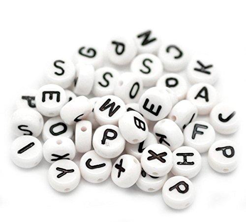 ZALAGO Acryl Weiss Schwarz Buchstaben Perlen Spacer Beads 7mm,1000 stk
