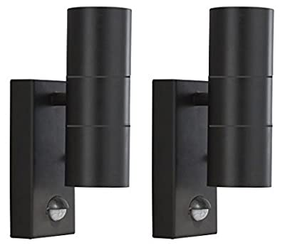 2 X Black PIR Stainless Steel Double Outdoor Wall Light With Movement Sensor IP44 Up/Down Outdoor Wall Light - low-cost UK light store.