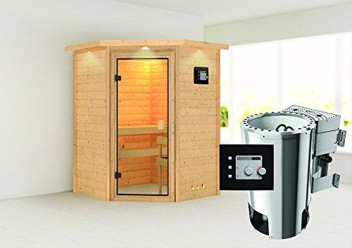 Alicja – Karibu Sauna Plug & Play inkl. 3,6 kW-Bioofen – mit Dachkranz –