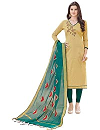 Women'S Beige Semi Stitched Embroidered Banglori Cotton Dress Material