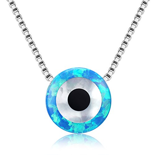 Kaletine Mal Ojo Collar Evil Eye Aojo Colgante de Plata Esterlina con Encanto Sintético Ópalo Azul 10x10mm y Cadena de Caja 40cm+5cm Extensor