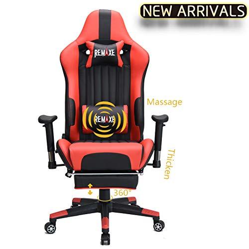 Ergonomischer Computer Spielstuhl, PU Leder Hoher Rücken Office Lehnstuhl mit Breiten dicken Kissen und einziehbaren Fußstütze Unterstützung für Taille-Massage PC Stuhl(Schwarz & Rot) - Gesamt-stuhl-kissen