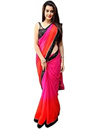 The Shopoholic Padding Georgette Pink Lace Work Simple Saree