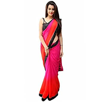 Sarees(Women's Clothing Saree For Women Latest Design Collection Fancy Material Latest Georgetee Sarees With Designer Beautiful Bollywood Sarees For Women Party Wear Offer Designer Sarees With Blouse Piece New Collection saree(4BHABHIPADDING)