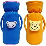 Cutieco Baby Feeding Bottle Cover with Attractive Cartoon, Yellow and Light Blue (Pack of 2)