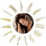 15 Stück Haarspangen Mädchen, Haarnadeln perlen für Mädchen, Mode Haar Snap Clips Faux Perle Haarnadeln Barrettes Stick Snap Haarspangen für Geschenke