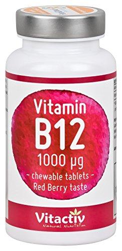 Preisvergleich Produktbild Vitamin B12 1000mcg - Premium Vitamin B 12 Qualität, hoch dosiert zum fairen Preis (100 Kautabletten)