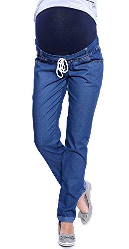 Dunkelblaue Schwangerschaftshose Jeans mit Schleife