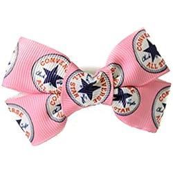 Lazo rosa para el cabello, de Converse, de cinta elástica. Accesorio perfecto para el cabello. Accesorio para fiestas de cumpleaños para niña, bolsas de fiesta y colas de caballo de uso diario