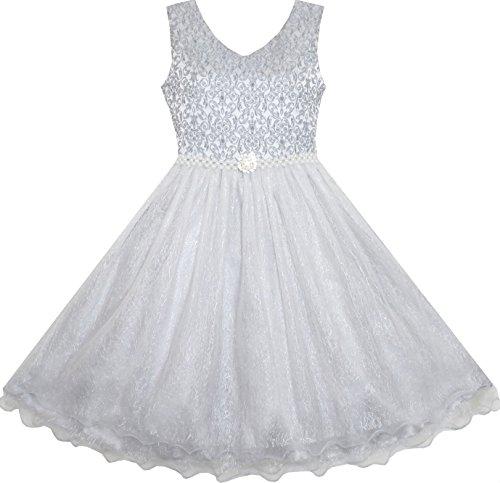 (Sunboree Mädchen Kleid Blume Mädchen Kleiden Funkelnd Perle Gürtel Grau Hochzeit Brautjungfer Festzug Gr.134)