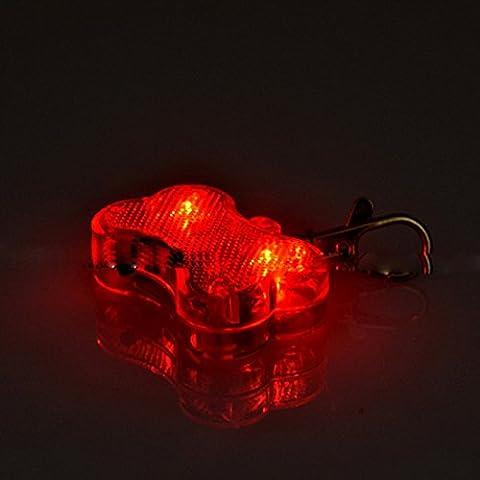 Médaille LED Lumineux Pendentif de Collier Collier pour Animaux Chien Chat-Rouge