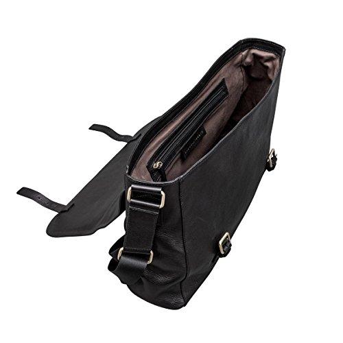 Maxwell-Scott® Hochwertige Herren Leder Schultertasche (Ravenna) Black