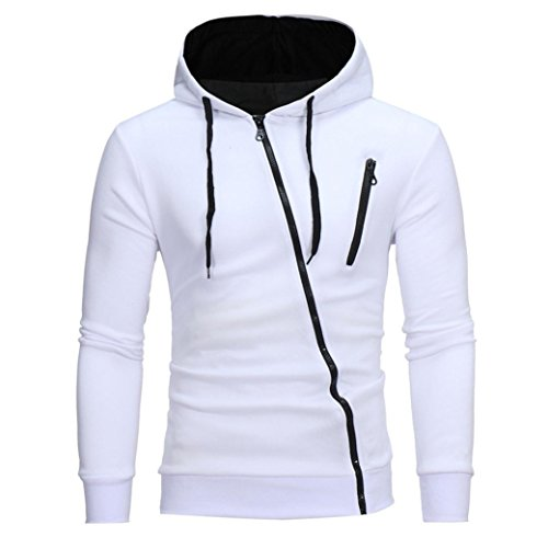 Sweatshirt Homme, Amlaiworld Capuche Manches Longues Sweat Capuche Manteau d'usure Tops Jacket (L, Blanc)