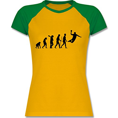 Shirtracer Evolution - Handball Evolution - Zweifarbiges Baseballshirt/Raglan  T-Shirt für Damen Gelb