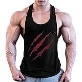 Luckycat Herren Bodybuilding Sommer Tank Top Sport Weste Gym Sleeveless Muskelshirt Muscle Shirt Herren Tank Top Achselshirt mit Tief geschnittenem Armausschnitt Schwarz