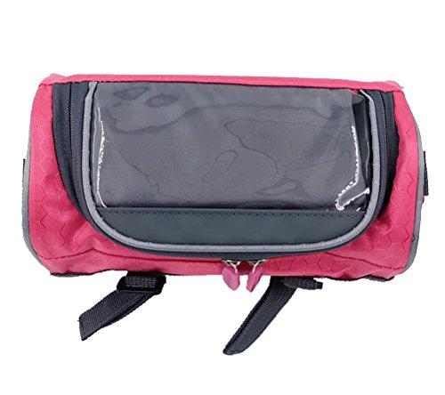 MASLEID Lenkertasche tragbar Wasserdichtes Bike Korb Touchscreen Handy-Tasche Rucksack Red