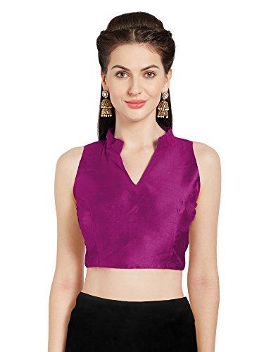 Mirchi Fashion Frauen Magenta Art Silk Readymade Partei Saree Bluse chinesischen Kragen ärmellose Choli Top