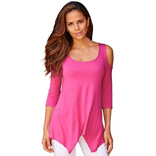 OverDose Atractiva de las mujeres del hombro dobladillo irregular flojo Pullover la blusa remata la camiseta (L, Rosa