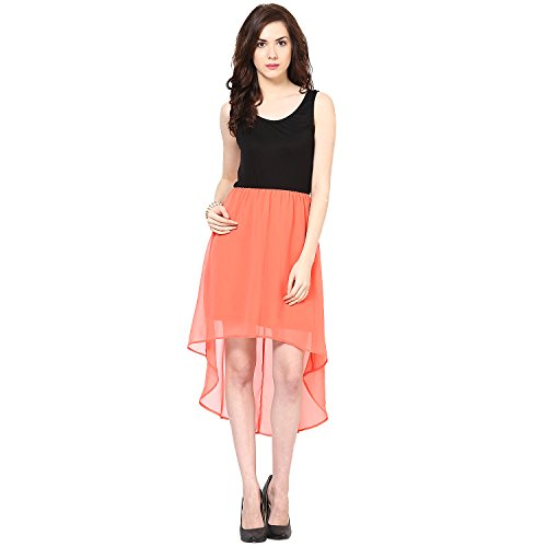 Harpa Women's Silk Skater Dress (GR2625_Coral_Large)  available at amazon for Rs.500