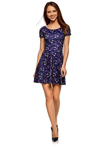 oodji Ultra Damen Tailliertes Kleid mit V-Ausschnitt am Rücken, Blau, DE 36 / EU 38 / S -