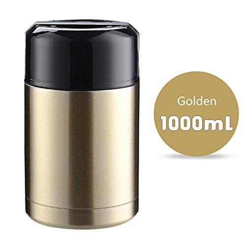 Haosen 1 L Edelstahl Thermos isolierbehälter für lebensmittel Vakuum-Isolierbehälter Isolier Foodbehälter thermobehälter - Auslaufsicherer,Stilvolles Aussehen,leicht zu tragen (Golden)