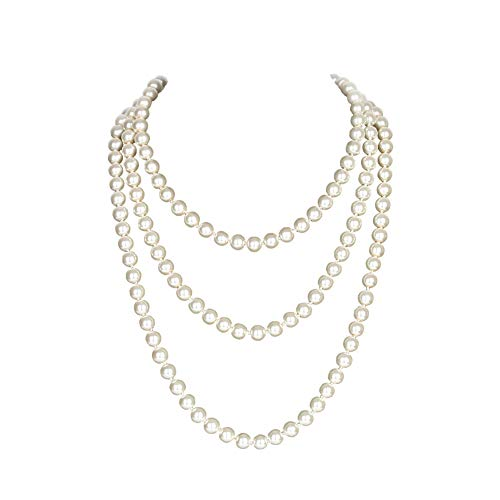 """Yuccer Perlenkette Lang, 20er Jahre Accessoires für Damen Modeschmuck Kette Lang, 59\""""/150cm"""