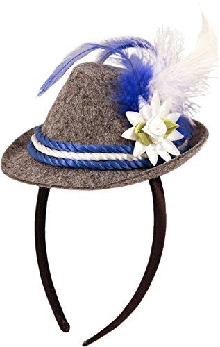 Mini-Hut/Tiara * OKTOBERFEST * mit blau-weißer Kordel und Federschmuck // F-20936 // Verkleidung Kostüm Mottoparty Geburtstag Mädchen Kinder Tiaras Diademe Bayern Hut