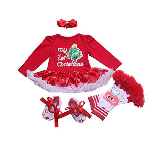 BabyPreg Neonate Mio Primo Natale Costume della Santa del Partito del Vestito 4PCS (S/3-6Mesi, Albero Rosso Lungo)