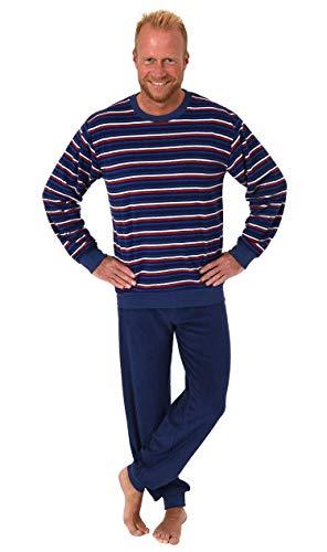 Herren Frottee Pyjama Langarm Schlafanzug mit Bündchen in Streifenoptik - 281 101 13 647, Farbe:Marine, Größe2:50