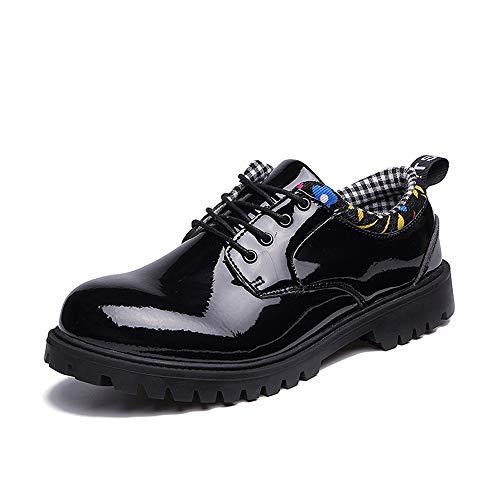 YIJIAN-SHOES Herren Oxford Schuhe Herren Stilvolle Oxford Casual Komfortable Low-Top Persönlichkeit Mikrofaser Leder Formelle Arbeitsschuhe Kleid Oxford Schuhe (Color : Patent Black, Größe : 45 EU) - Patent-penny Loafer