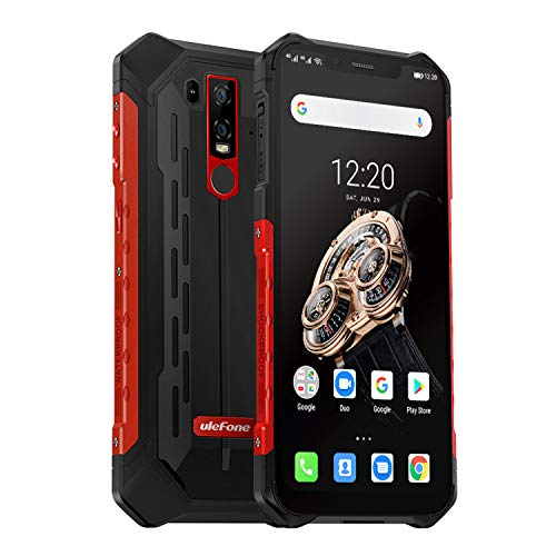 cellulare antiurto, ulefone armor 6s 4g rugged smartphone android 9.0, helio p70 6gb+128gb, cellulare impermeabile 6.2 pollici 19:9 fhd+, 16mp+8mp+8mp, 5000mah ricarica wireless, nfc/otg/gps-rosso