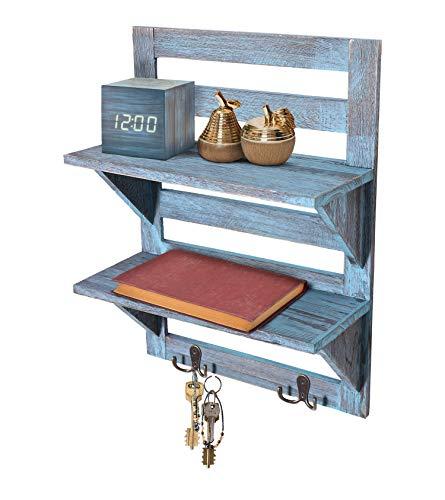 Comfify Rustikales Wandregal - Landhausdekor für Küche oder Bad - Vintage Wandregal mit zwei doppelten Eisenhaken & 2-stöckigem Regal - Dekorativer Wandregal-Organizer - Rustikales Blau