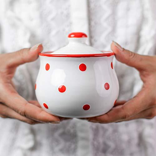 City to Cottage | Sucrier Pot de sucre | blanc à pois rouges en céramique avec couvercle fait et peint à la main